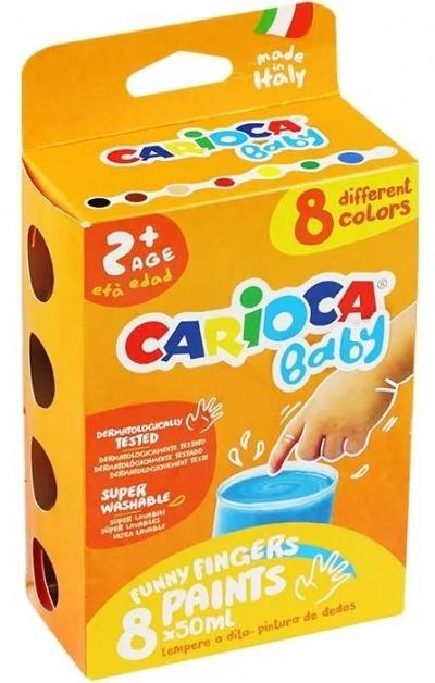 Farba tempera do malowania palcami 8 kol CARIOCA