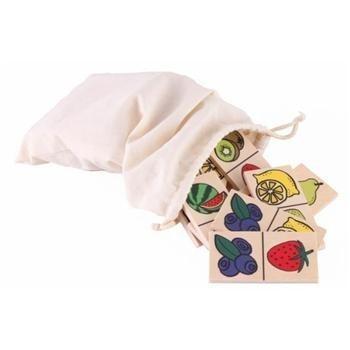 Domino owoce w woreczku lnianym