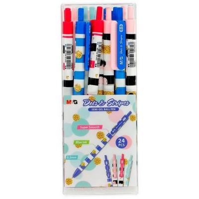 Długopis automatyczny Dots&Stripes ABP46471 M&G 0,5 mm niebieski wkład