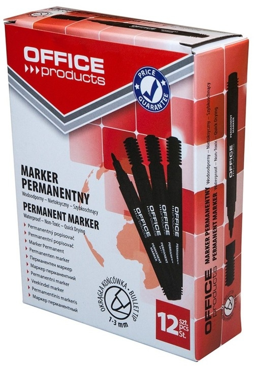 Marker permanentny OFFICE PRODUCTS, okrągły, 1-3mm (linia), czarny 12 sztuk