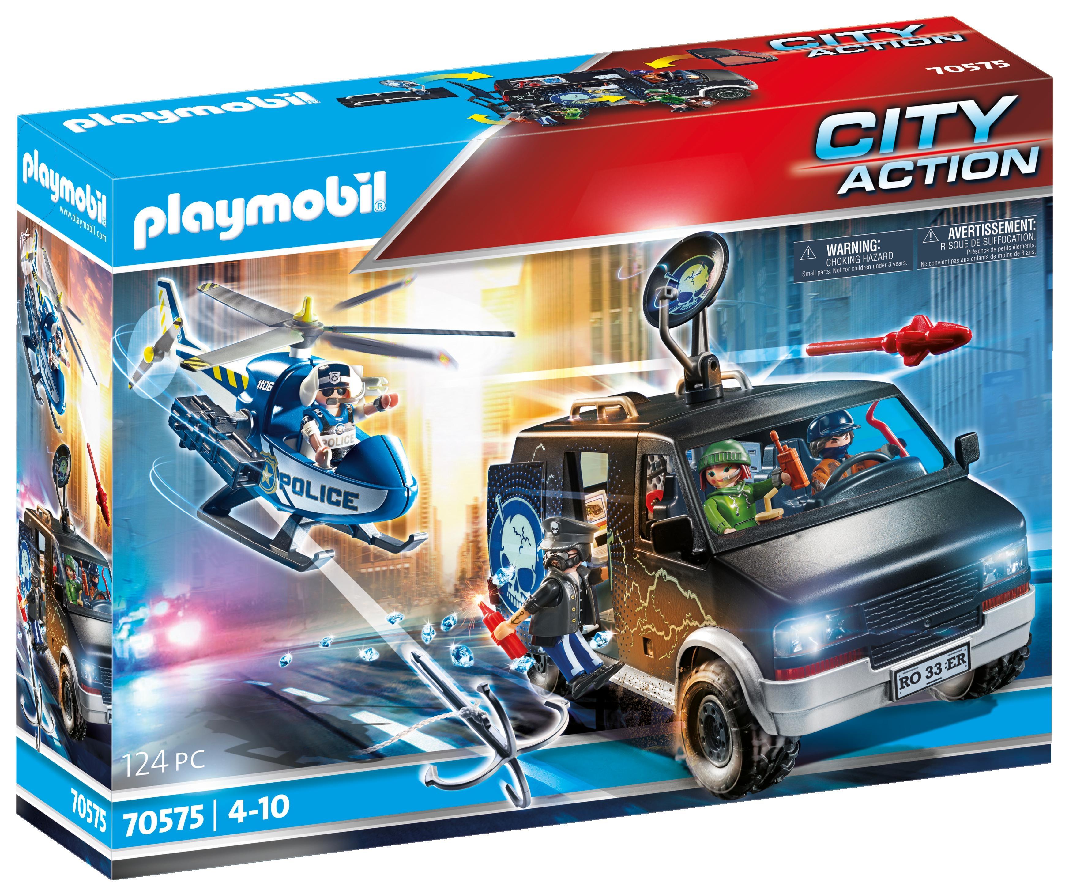 Playmobil City Action: Policyjny helikopter: Pościg za uciekającym samochodem (70575)