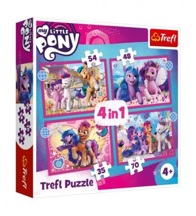 Puzzle 4w1 Kolorowe kucyki