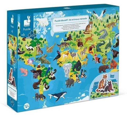 Puzzle edukacyjne z figurkami 3D Zagrożone gatunki 200 elementów (J02676)