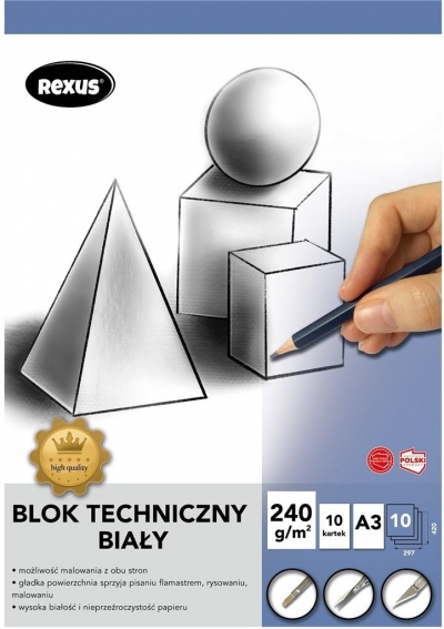 Blok techniczny A4/10K biały Premium