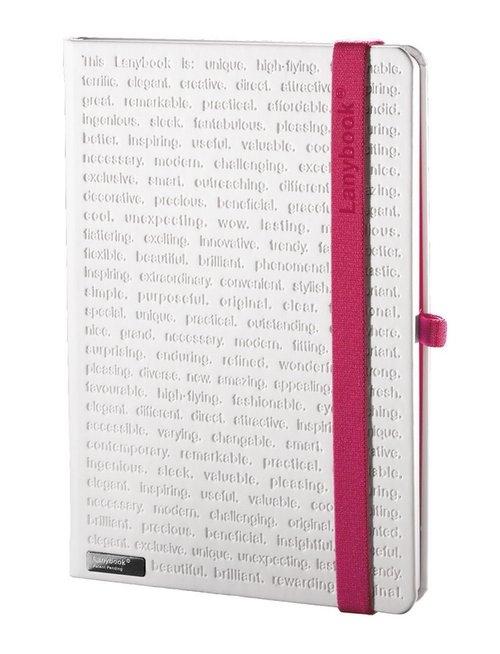 Notes A5 Lanybook The One w kratkę biały z gumką fuksja