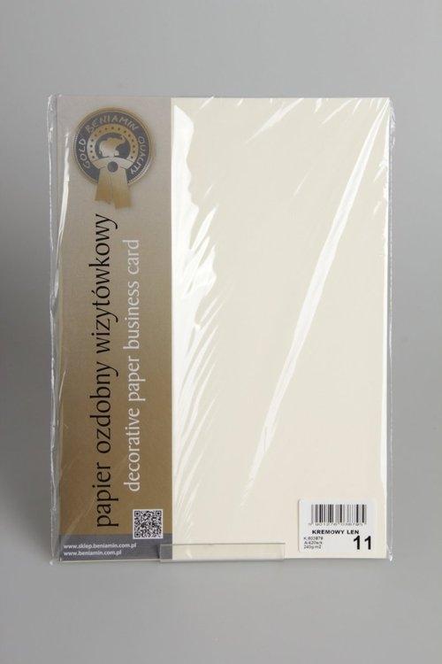 Papier wizytówkowy A4 20 arkuszy 240g/m2 - Kremowa skóra