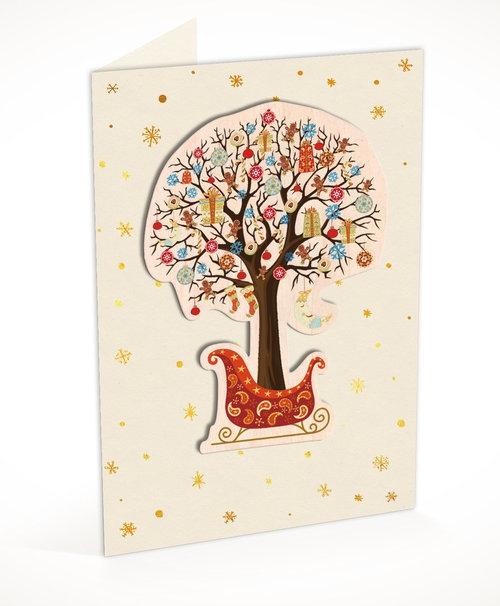 Karnet C6 naklejany + koperta Święta Drzewko