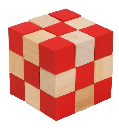 IQ-Test Kostka Magiczny Wąż drewno naturalny/czerwony