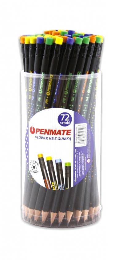 Ołówek z gumką hb trókątny premium penmate