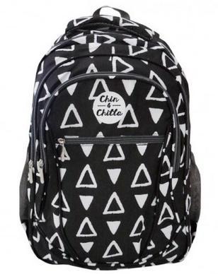 Plecak trzykomorowy czarny Trójkąty