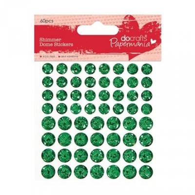 Brokatowe wypukłe naklejki Papermania Green 60 szt.