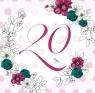 Karnet Swarovski kwadrat Urodziny 20 kwiaty