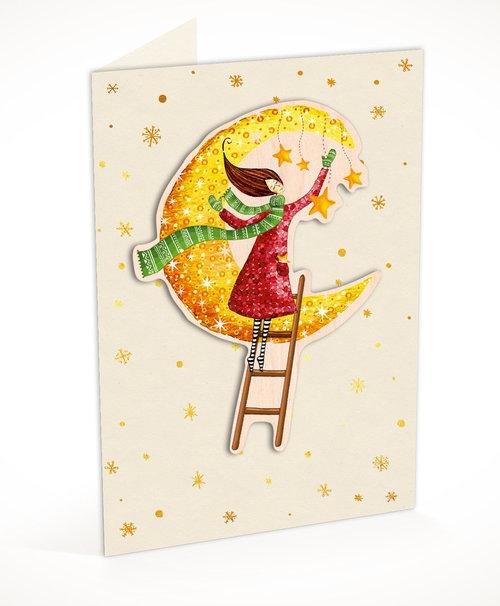 Karnet C6 naklejany + koperta Święta Kobieta i księżyc