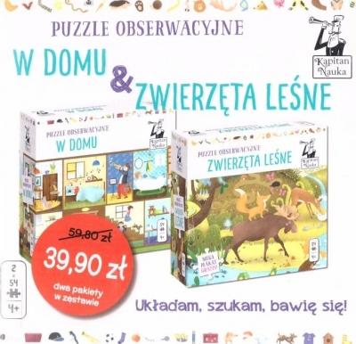 Pakiet: W domu+Zwierzeta leśne puzzle obserwacyjne praca zbiorowa