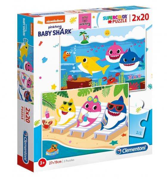 Clementoni, puzzle SuperColor 2w1: Baby Shark (24777)