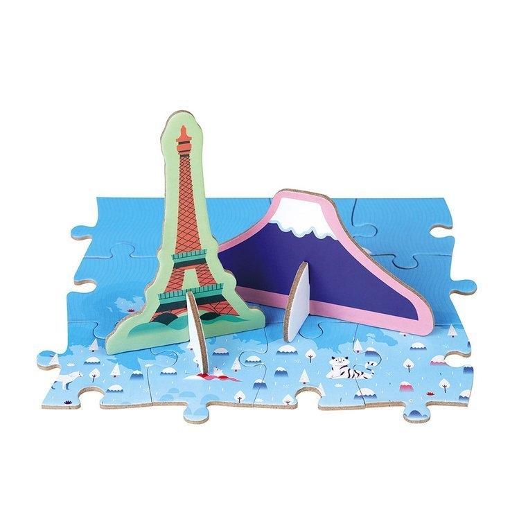 Puzzle edukacyjne z figurkami 3D Cuda świata 350 elementów (J02677)