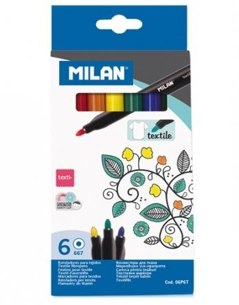 Flamastry Milan Textile 667 do tkanin - 6 kolorów  (06P6T)