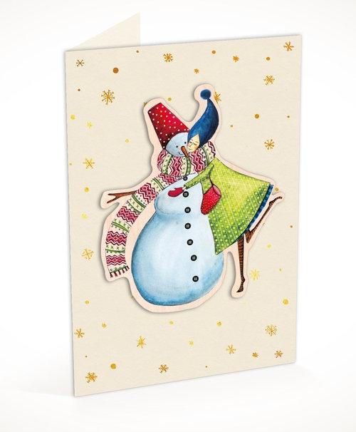 Karnet C6 naklejany + koperta Święta Kobieta z bałwanem