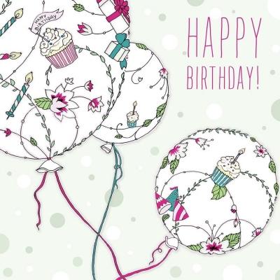 Karnet Swarovski kwadrat CL1905 Urodziny balony