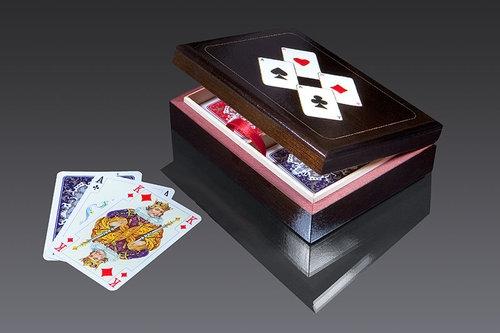 Karty do gry Piatnik 2 talie lux w pudełku drewnianym z asami (2947)