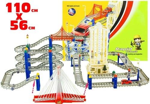 Tor samochodowy zjeżdżalnia most grający 110x56cm