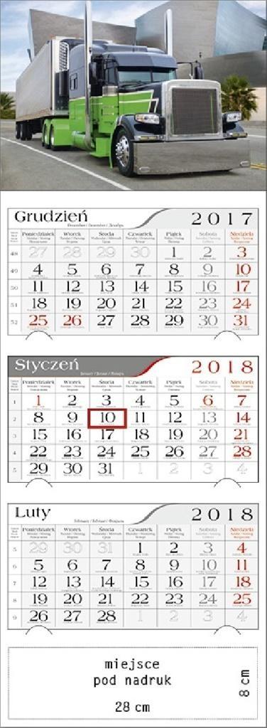 Kalendarz 2018 Trójdzielny Truck