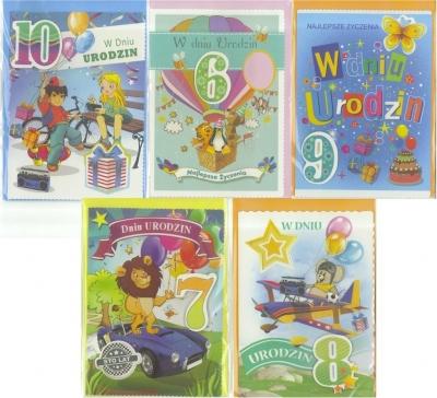 Karnet B6 brokat Urodziny 6-10 lat (10 szt) MIX