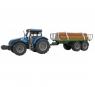 Traktor z przyczepą z drewnem, dźwiękami i światłem MIX (107790)