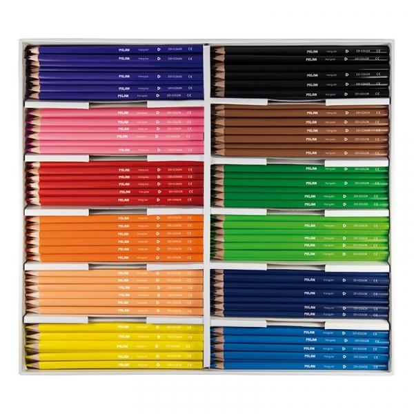 Kredki ołówkowe Milan 231 trójkątne, 288 szt. - 12 kolorów x 24 szt. (07271288)