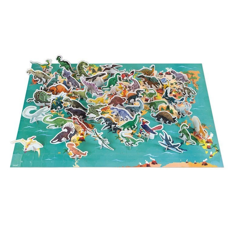 Puzzle edukacyjne z figurkami 3D Dinozaury 200 elementów (J02679)