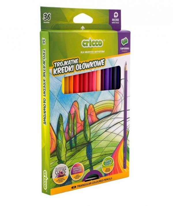 Kredki Cricco trójkątne ołówkowe 36 kolorów