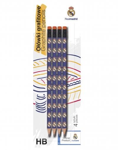Ołówek trójkątny HB Real Madryt 4szt na blistrze 206015003