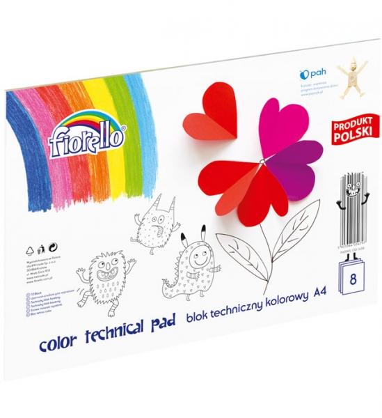 Blok techniczny Fiorello A4/8k - kolorowy (437148)