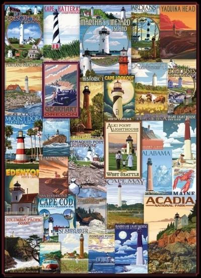 Puzzle 1000 Stare plakaty, Latarnie morskie