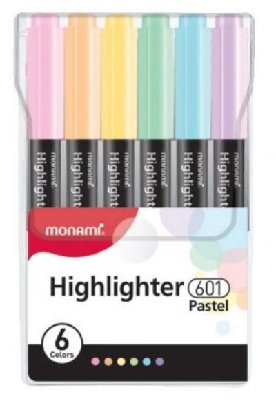 Zakreślacz 601 komplet 6szt Pastel MONAMI