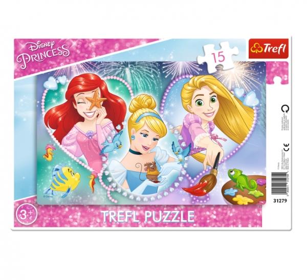 Puzzle ramkowe 15: Trzy uśmiechnięte księżniczki (31279)