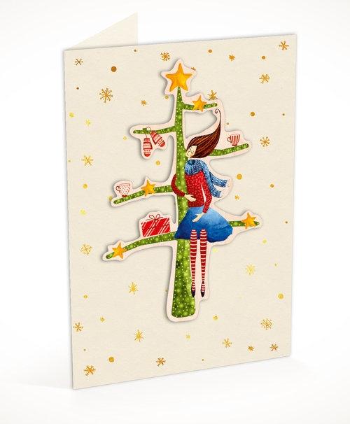Karnet C6 naklejany + koperta Święta Kobieta na choince