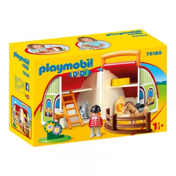 Playmobil 1.2.3: Moja przenośna stajnia (70180)