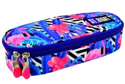 Piórnik szkolny saszetka Stright Flamingo pink&blue PC-01