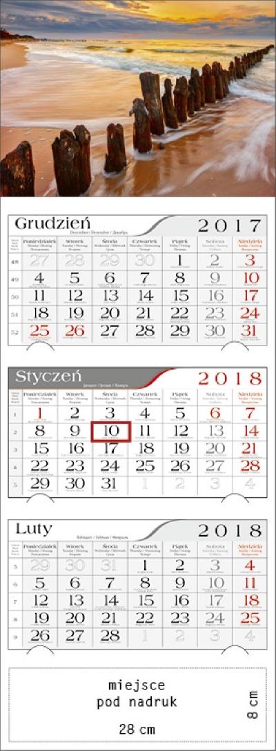 Kalendarz trójdzielny Bałtycki Klif 2018 GM-917-T11-BIAŁY