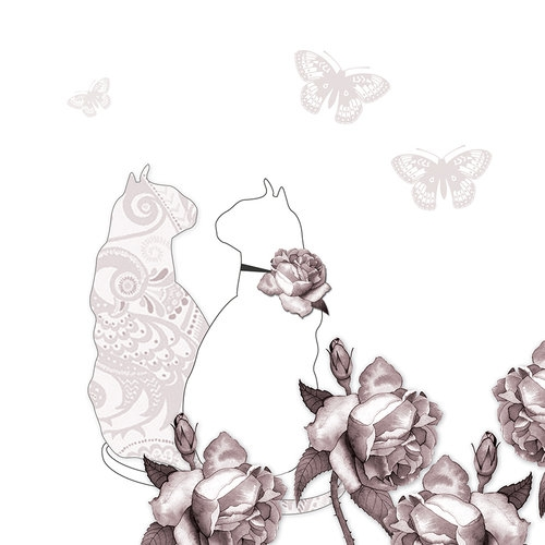 Karnet Swarovski kwadrat Koty i motyle