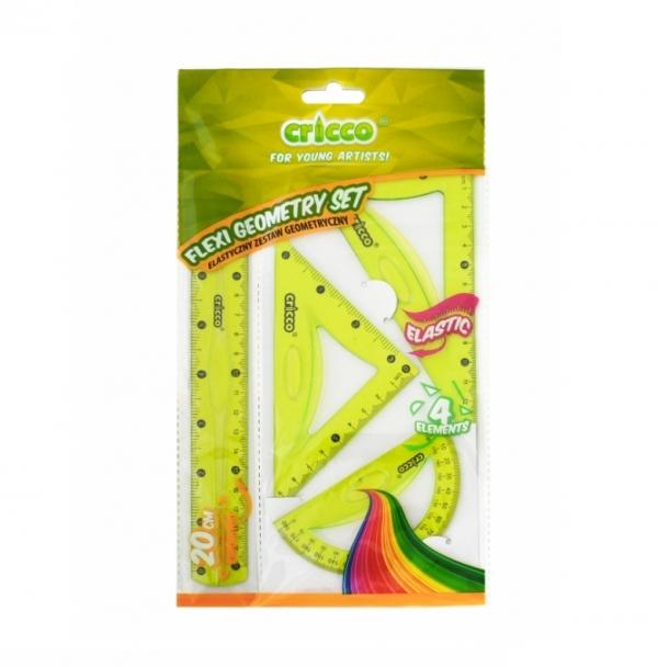 Zestaw geometryczny Flexi z linijką 20 cm zielony (CR620)