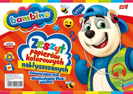 Zeszyt papierów kolorowych nabłyszczanych BAMBINO A4, 10 kartek