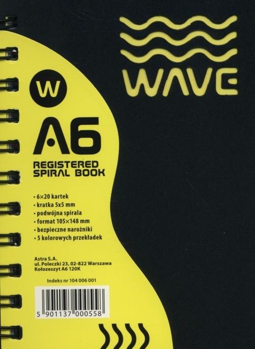 Kołozeszyt A6 Wave w kratkę 120 kartek żółty