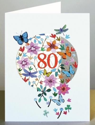 Karnet F80 wycinany + koperta Urodziny 80