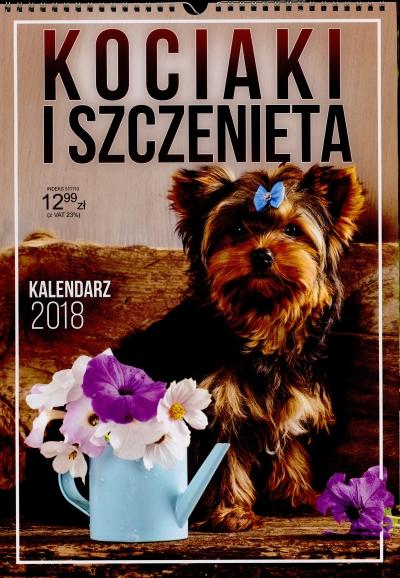 Kalendarz ścienny A3 Kociaki i szczenięta spirala 2018 .