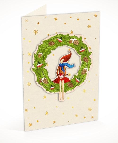Karnet C6 naklejany + koperta Święta Wieniec