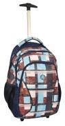 Plecak trolley z rączką kratka brązowo-niebieska
