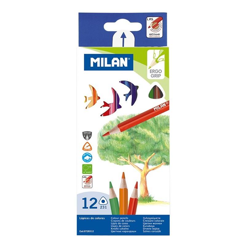 Milan, kredki ołówkowe 231 trójkątne, 12 kolorów (0728312)