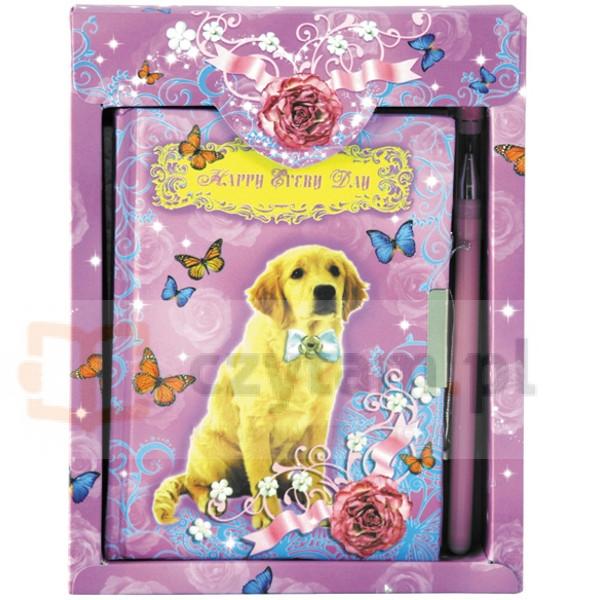 Pamiętnik zamykany z długopisem Pies (242417)